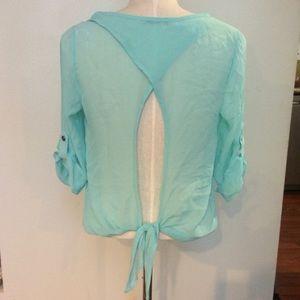 Aqua pastel blue open tie back backless blouse top